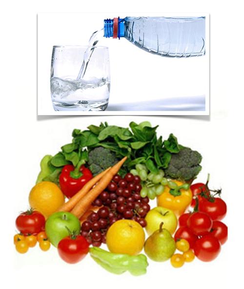 agua, fruta y verdura